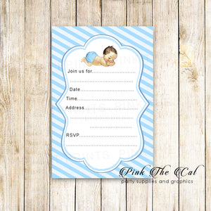 30 blue boy baby shower invitations fill in