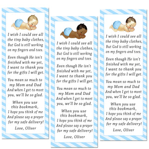 50 bookmarks boy vintage baby shower blue