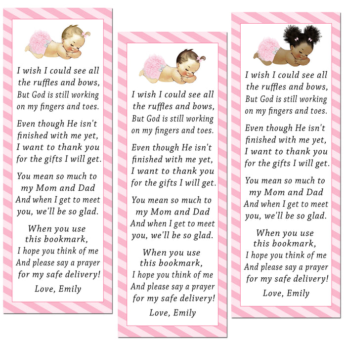 50 bookmarks girl vintage baby shower pink