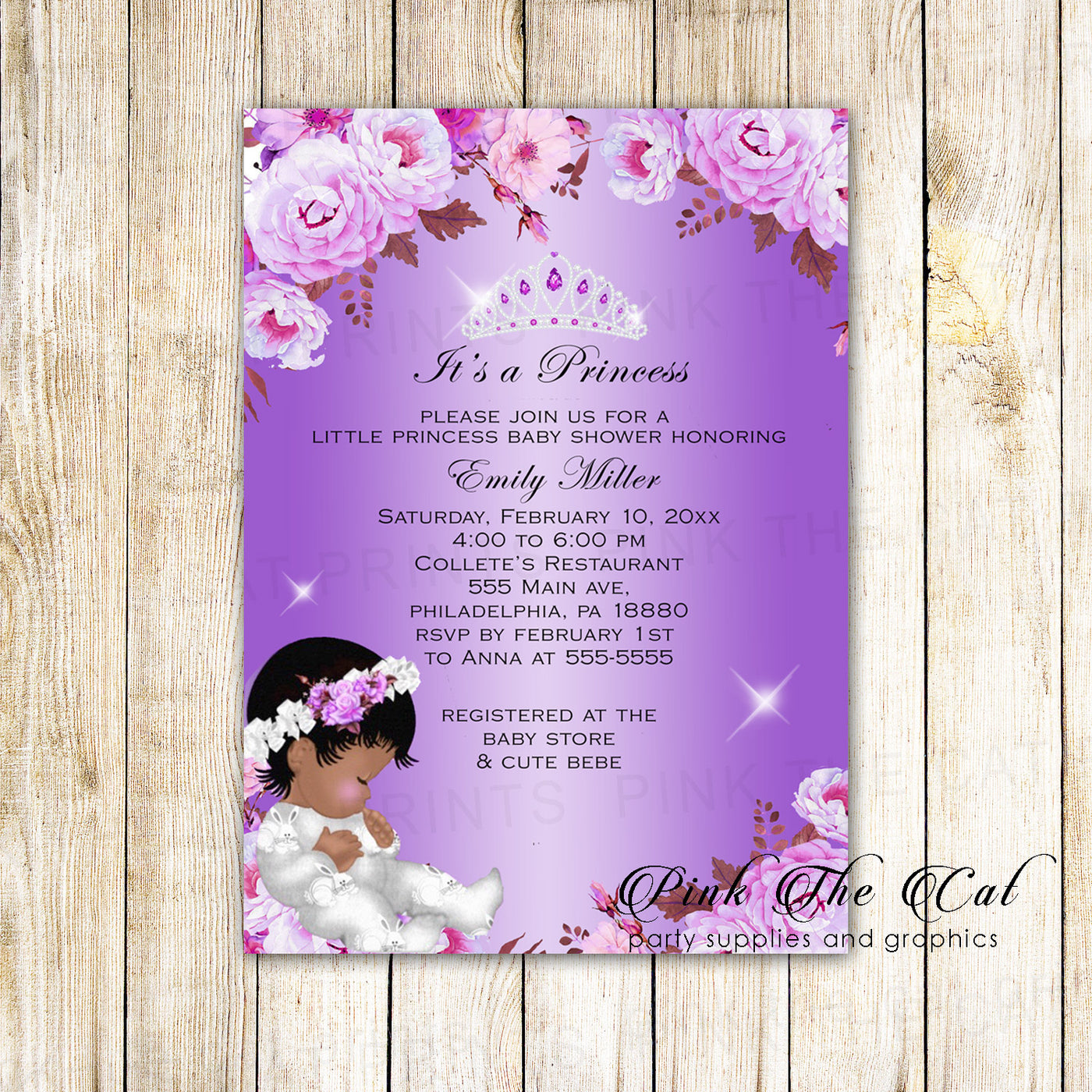 30 Invitations Princess Baby Shower African American Purple Floral