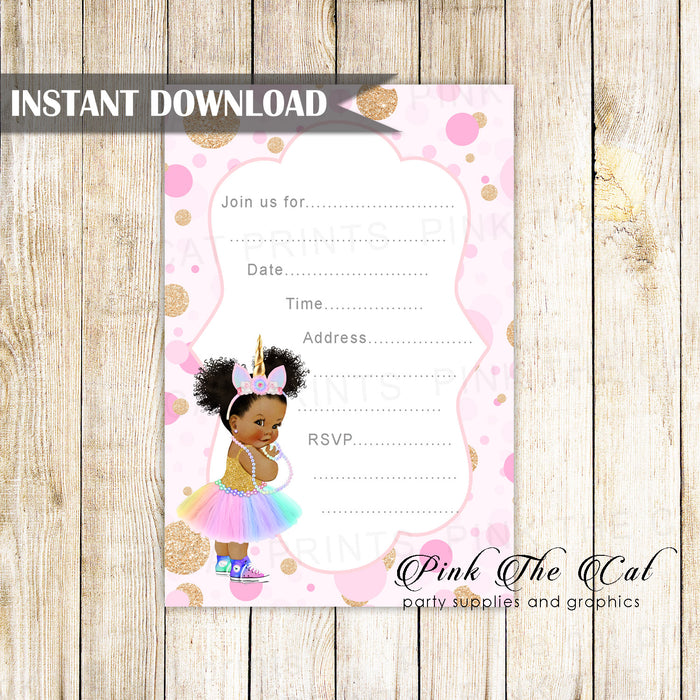 Unicorn Baby Invitation Fill In Blank Printable 2