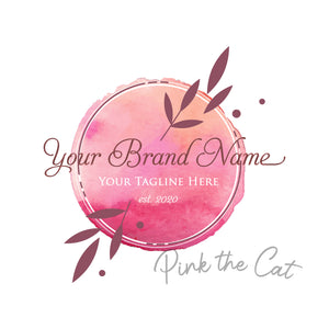 Premade logo signature pink floral watercolor