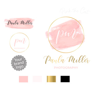 Premade caligraphy pink gold logo design