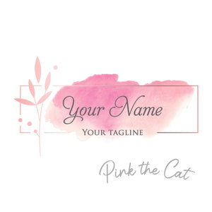 Premade logo signature pink floral watercolor #2