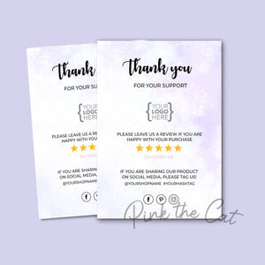 Business thank you card watercolor purple