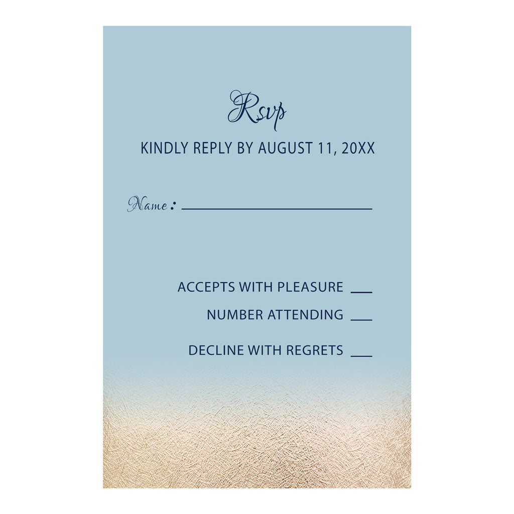 100 RSVP response cards blue gold wedding personalized