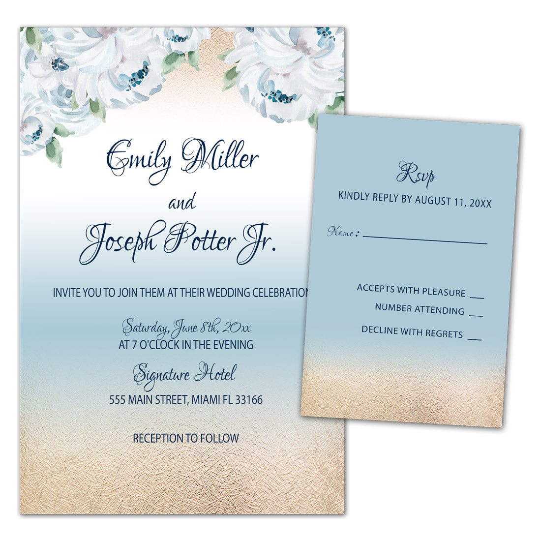 100 Printed Gold Blue Wedding Invitations Rsvp Cards White Roses