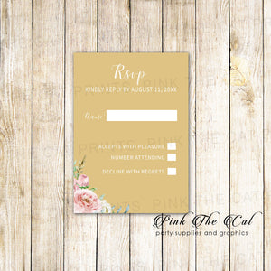 100 RSVP response cards blush pink gold floral wedding