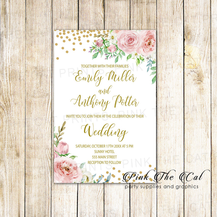 100 wedding invitations blush pink confetti gold floral