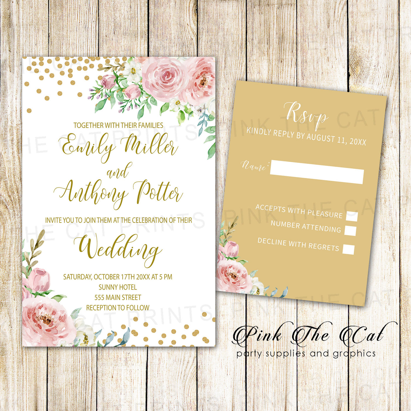 photo regarding Printable Rsvp Cards called Floral Marriage Invites RSVP Playing cards Blush Purple Gold