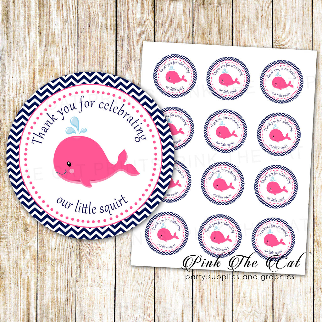 40 Nautical Stickers Label Whale Girl Baby Shower Pink Blue