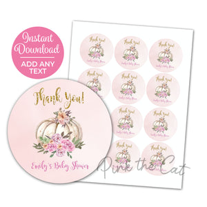 White pumpkin favor label pink gold printable