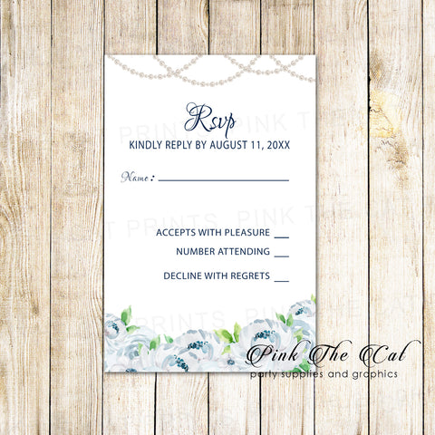 100 Wedding RSVP response card white roses pearls