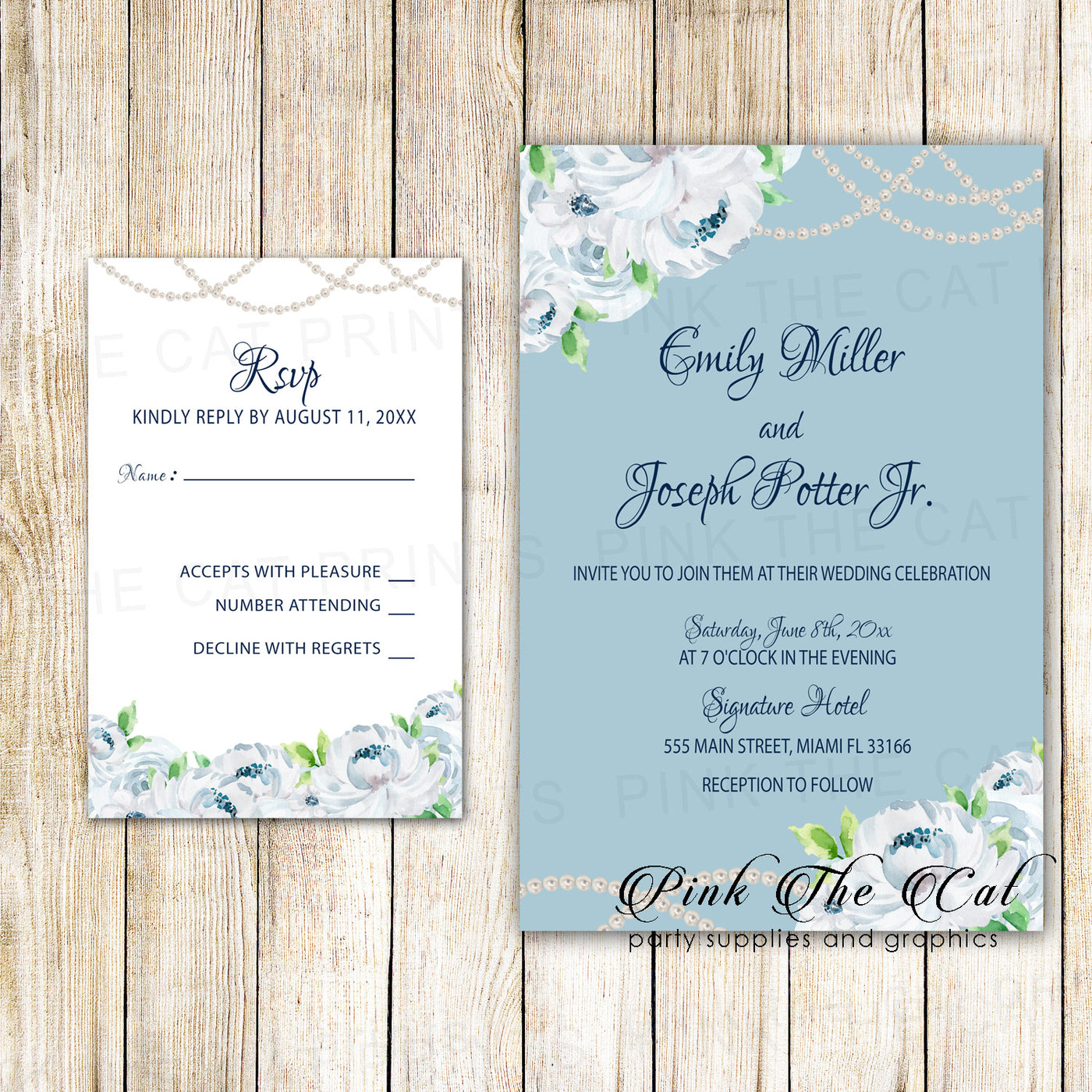 graphic relating to Printable Rsvp Card identified as Floral Wedding ceremony Invites RSVP Playing cards White Roses Pearls Blue