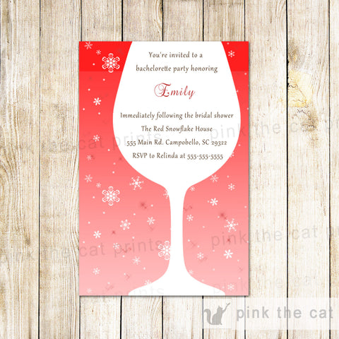 Bachelorette Invitation Wine Glass Winter Red Snowflakes
