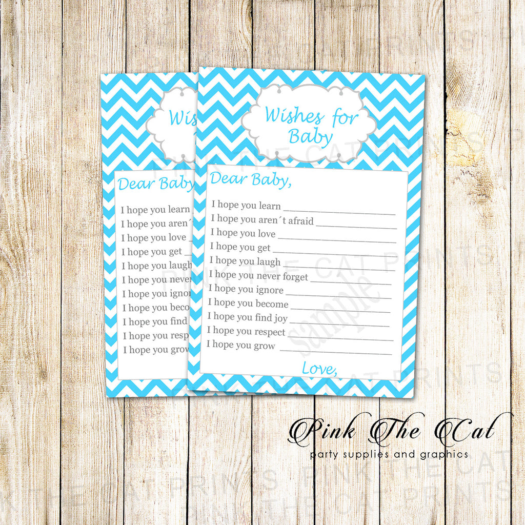 30 wishes for baby shower blue chevron