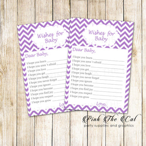 30 wishes for baby shower purple white chevron girl
