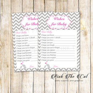 30 Printed Cards Wishe for Baby Pink Elephant Baby Shower