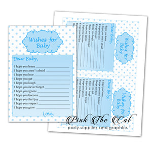Wishes for Baby Card Blue Polka Dots Boy Baby Shower Printable