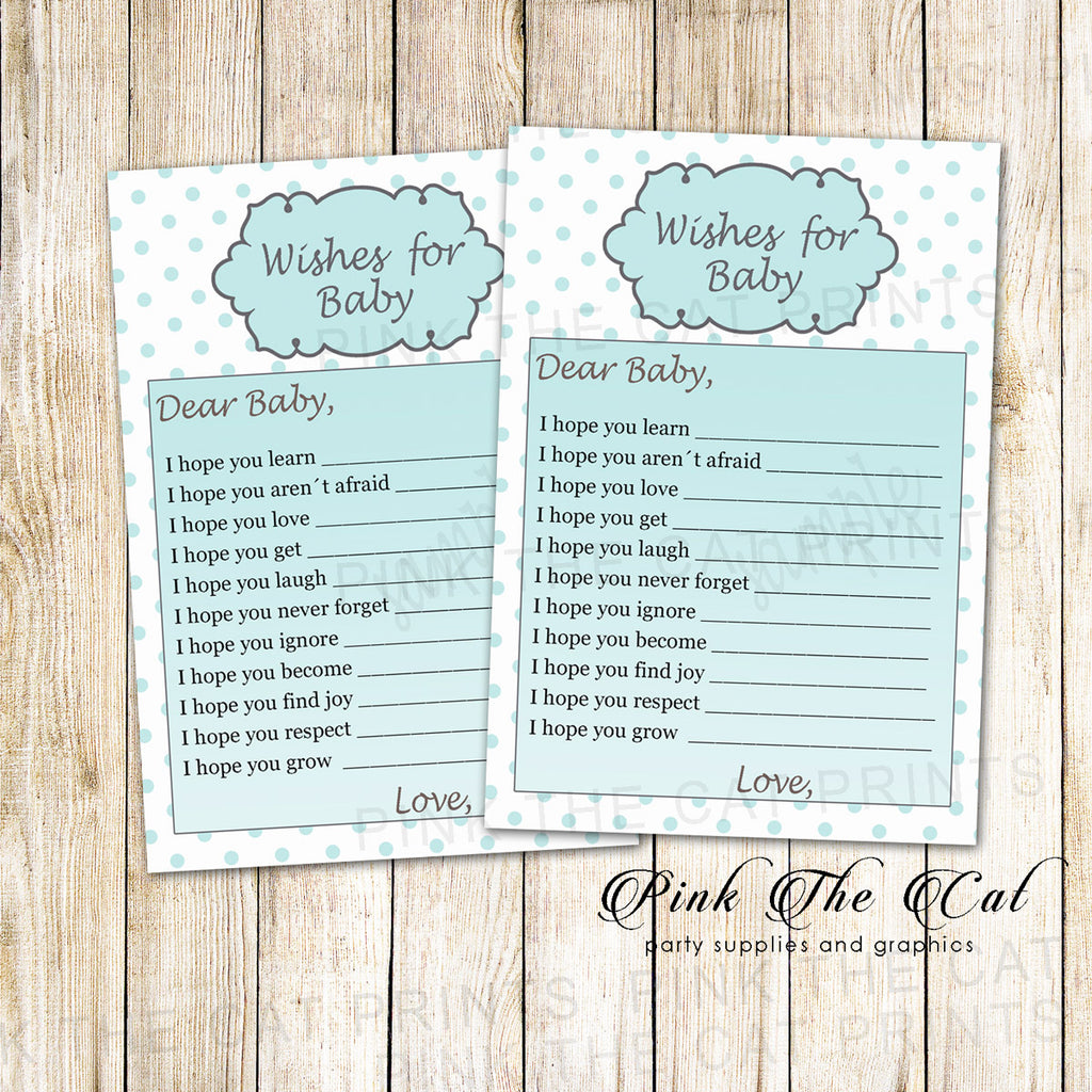 30 wishes for baby shower teal silver girl polka dots