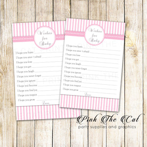 30 wishes for baby cards girl shower pink stripes