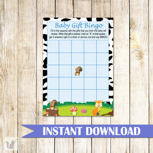 Baby Gift Bingo Card Baby Shower Woodland Forest Printable
