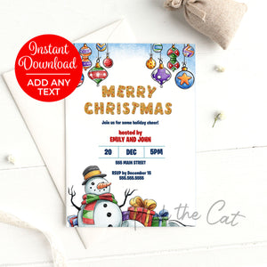 Snowman invitation christmas party printable