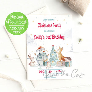 Forest christmas invitation birthday baby shower