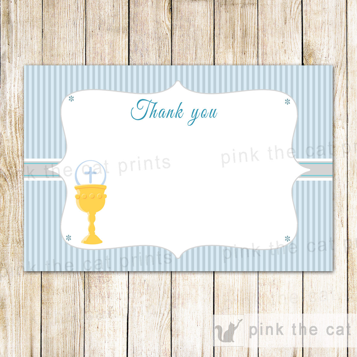 Communion Blank Thank You Card Chalice Blue Stripes Printable Pink