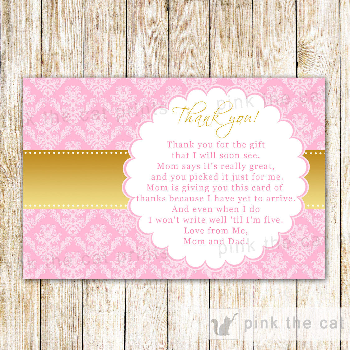 graphic relating to Baby Shower Card Printable named Gold Red Thank By yourself Observe Birthday Boy or girl Shower