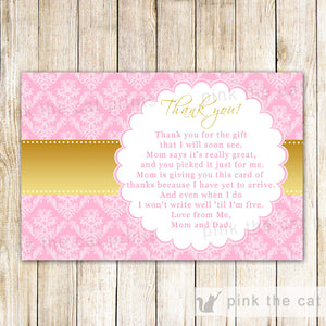 Thank You Notes Pink Gold Birthday Baby Shower