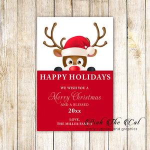 30 Holiday christmas greeting cards raindeer cute hat