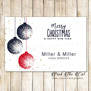 30 Holiday christmas greeting cards blue red ornaments