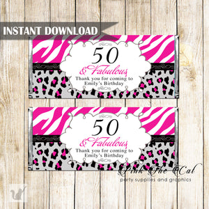 Candy bar wrappers adult birthday hot pink black zebra printable