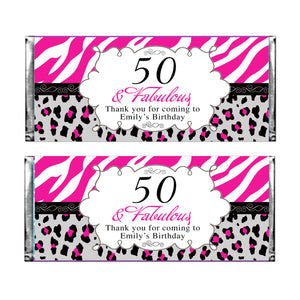Candy bar wrappers adult birthday pink black printable