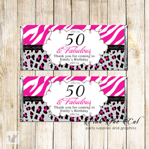 30 candy bar wrappers adult birthday pink black personalized