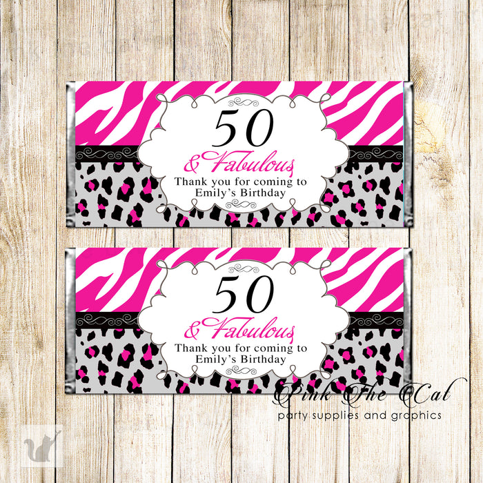 30 candy bar wrappers adult birthday pink black