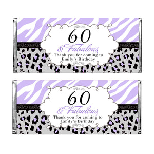30 candy wrappers adult birthday lavender black personalized any age