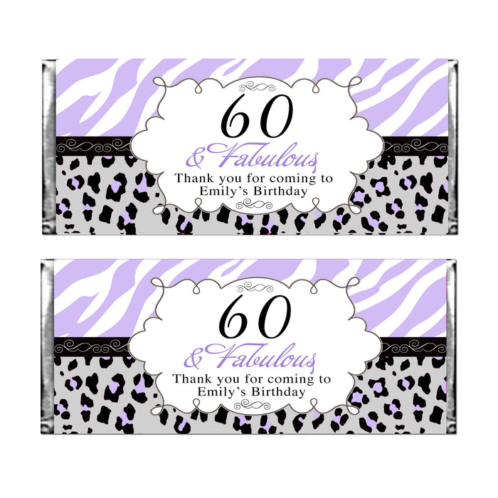 30 candy wrappers adult birthday lavender black