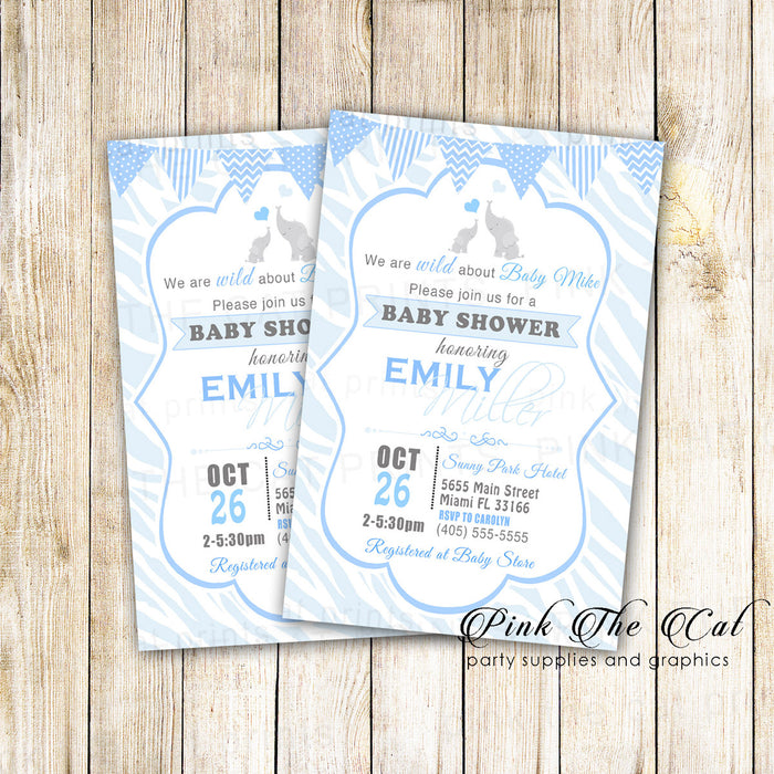 30 Invitations Elephant Boy Baby Shower Blue Animal Print