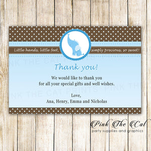 Elephant Thank You Card Blue Brown Baby Shower Birthday