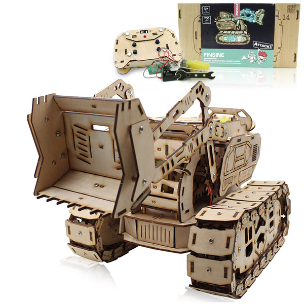Bulldozer Remote Controlled 3D Mechanical Wooden Puzzle Robotics Kit