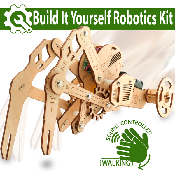 3D DIY Walking Robot Kit Mechanical Wooden Puzzle – Sound Controlled Crawfish Robotics Toy By ADA
