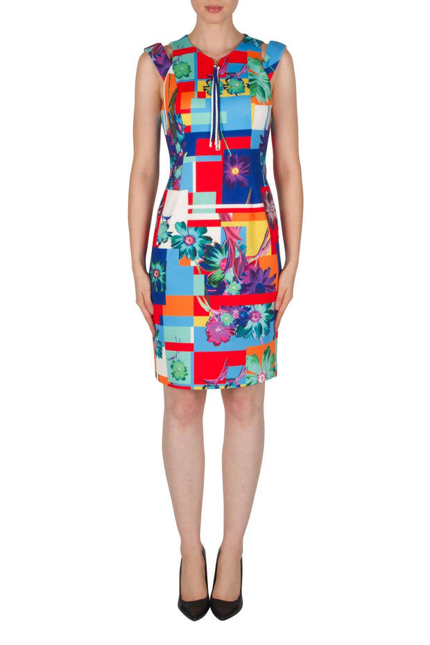 Joseph Ribkoff Flower Abstract Cap Sleeve Dress Style 182702 modella-signature