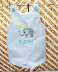 Boys Birthday Elephant Jon,Boys Birthday Jon,First Birthday Jon,Applique Embroidered Jon