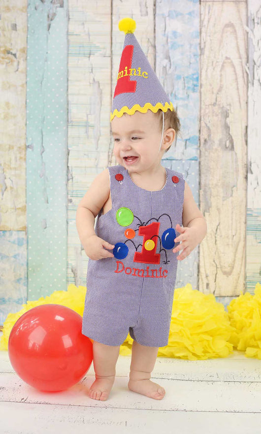 Boys Bouncy Balls Birthday Jon and Hat,Boys Birthday Jon,First Birthday Jon,Applique Embroidered Jon