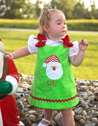 Girls Christmas Santa Dress,Santa Girls Dress,Girls Christmas Dress,Appliqué Embroidered Dress Aline Dress