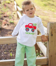 Boys Christmas Truck Shirt with Optional Pants,Truck Shirt,Appliqué Embroidered
