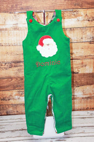 Christmas Santa Jon,Boys Christmas Jon,Green Santa Jon,Appliqué Embroidered Longall Jon