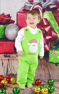 Christmas Santa Jon,Boys Christmas Jon,Lime Green Santa Jon,Appliqué Embroidered Longall Jon